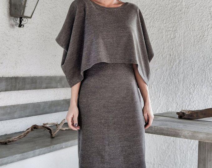 Tauchen Neopren Maxi Kleid Kaftan mit Taschen / Zartrosatöne Scuba ...
