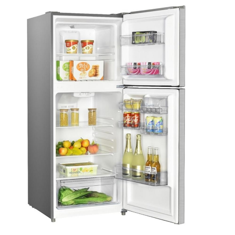 Premium 12 Cu Ft Frost Free Top Freezer Refrigerator In Stainless Steel Prn12260hs The Home Depot Top Freezer Refrigerator Refrigerator Glass Storage
