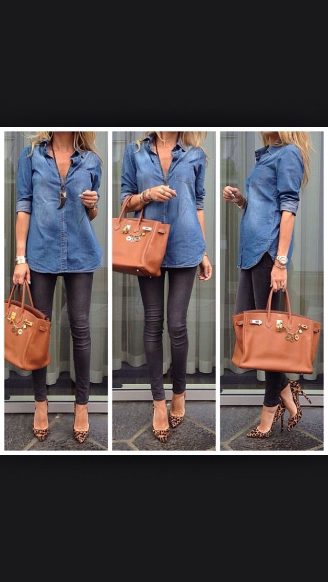 61a386ba990 denim shirt outfit ideas 😊 in 2019 | Outfit posts | Fashion, Autumn ...