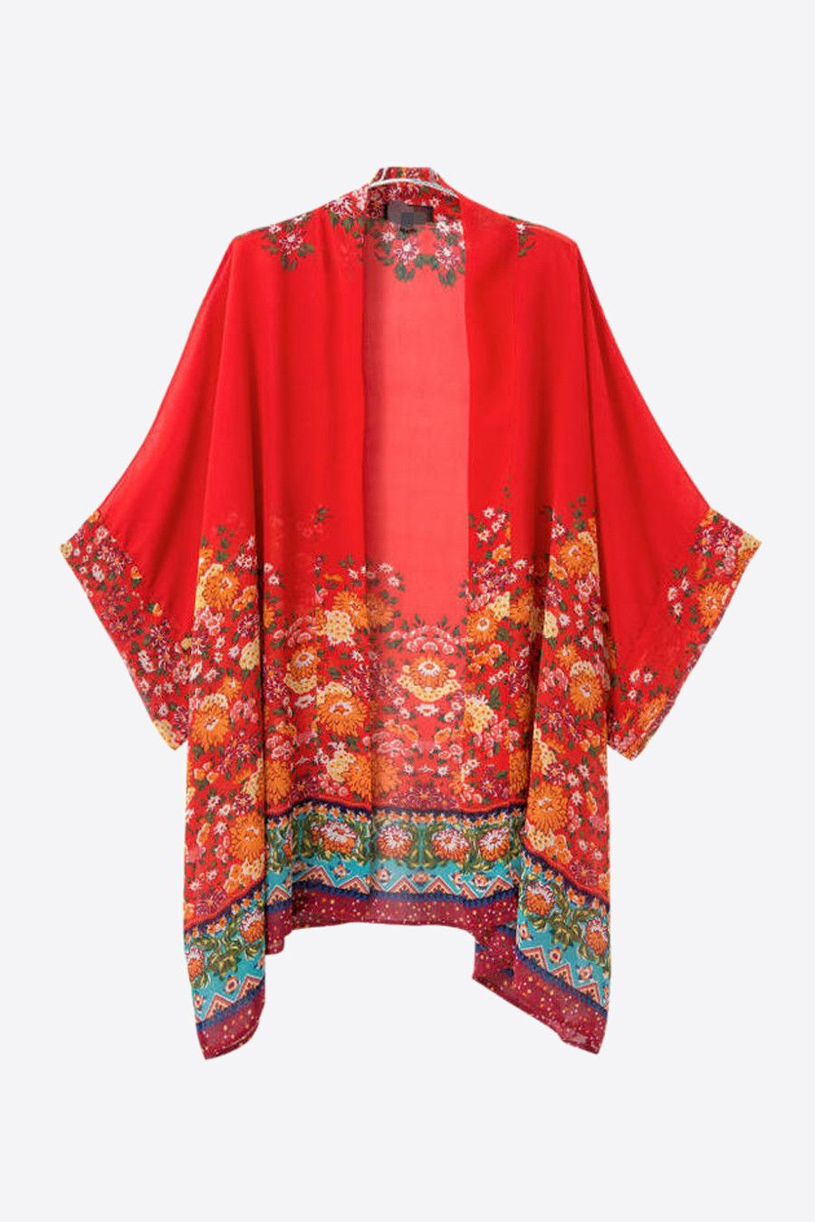Retro Red Floral Printed Kimono | Nice, Floral prints and Colors