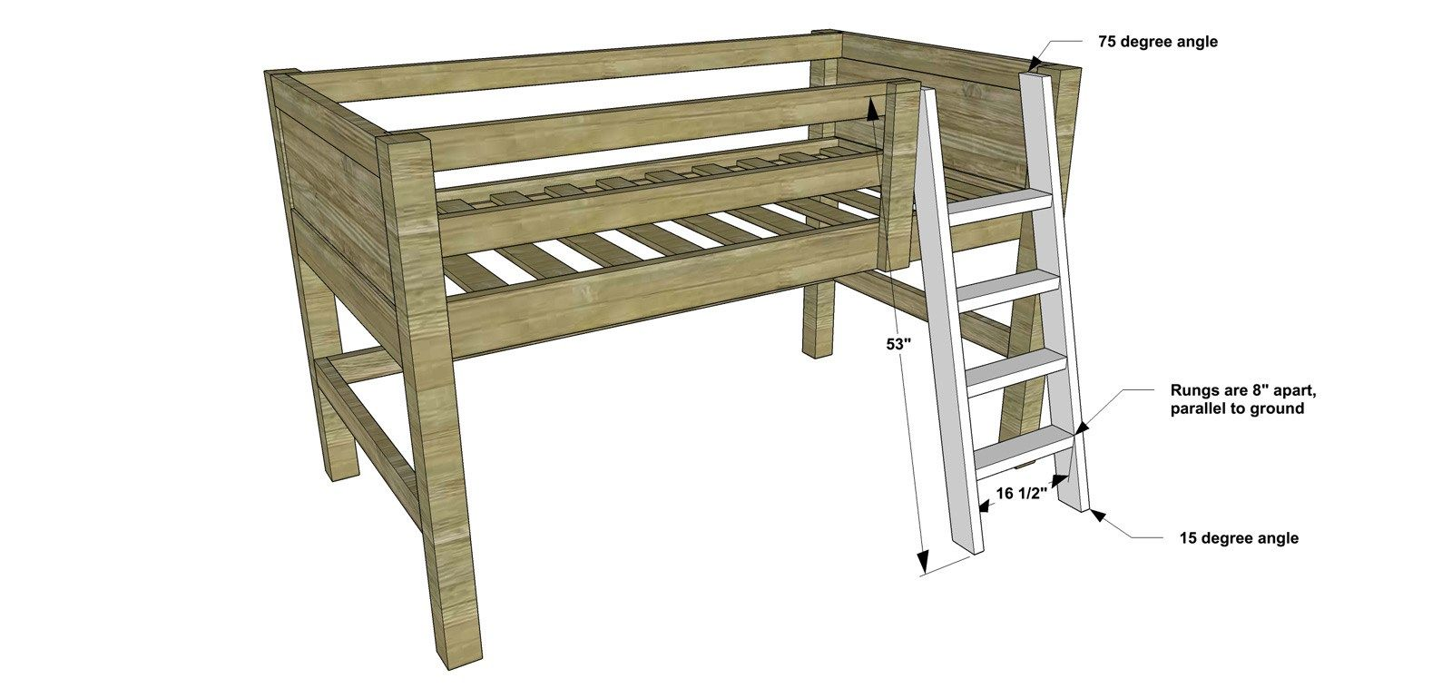 Free Diy Furniture Plans How To Build A Twin Sized Low Loft Bunk With Roll Out Desk Bookshelf The Design Confidential Diy Furniture Plans Diy Loft Bed Furniture Plans