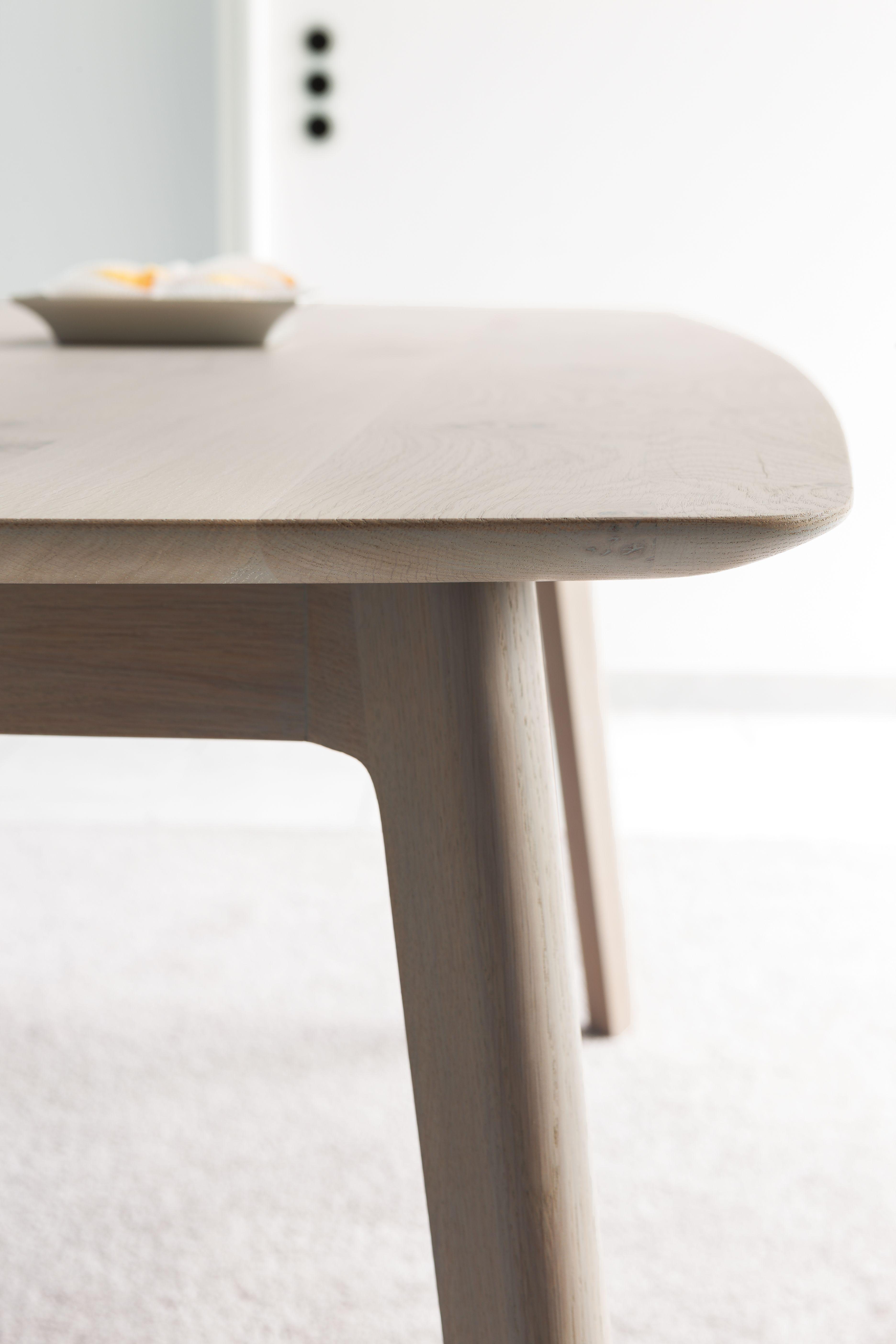 Tisch Simplex Eiche Weiss Geolt Detailarbeit Handwerk Stil Design