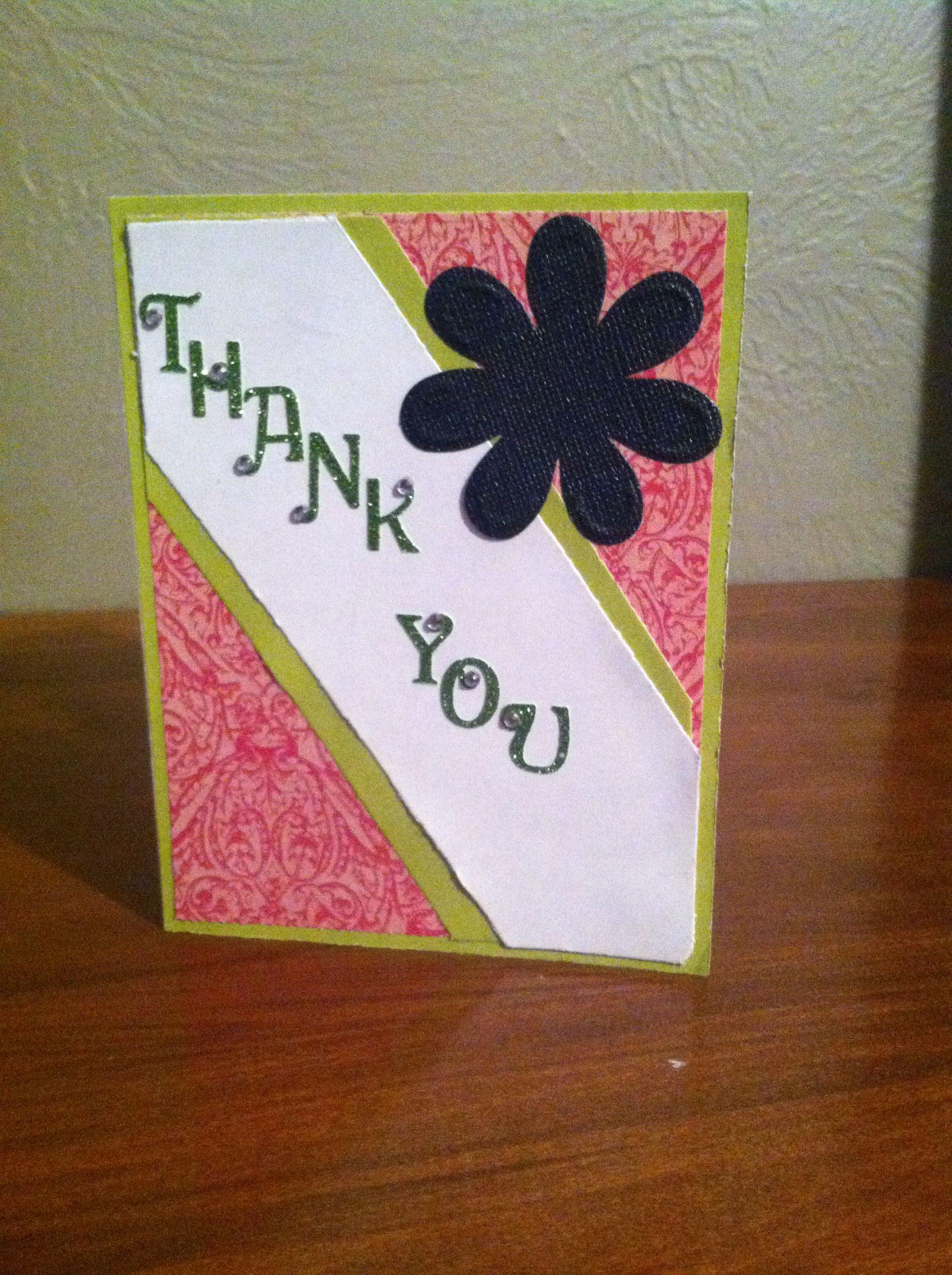thank you card i made  card making cards handmade