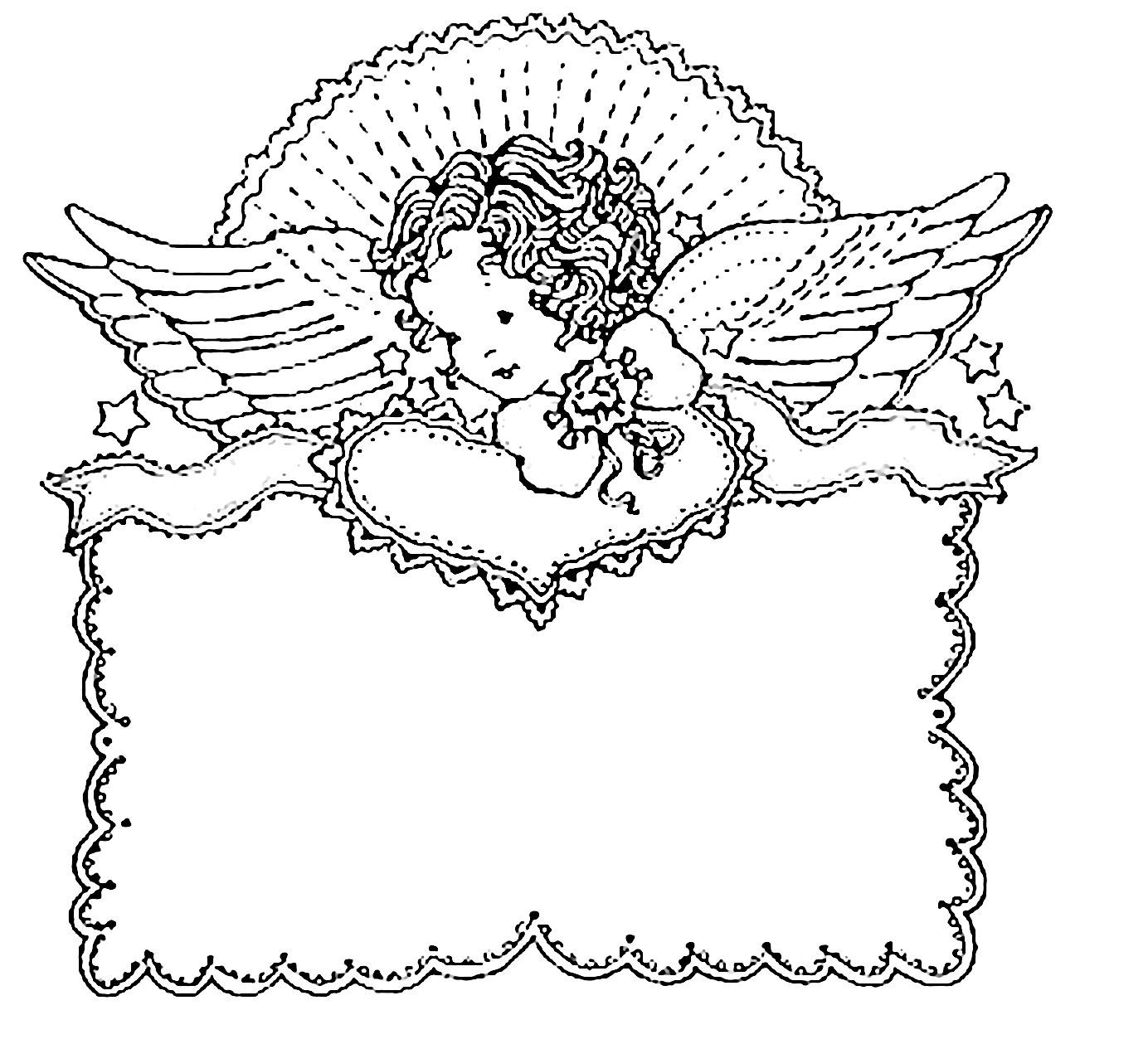 Pb Angel Heart Valentine Coloring Pages Quilt Labels Coloring Pages