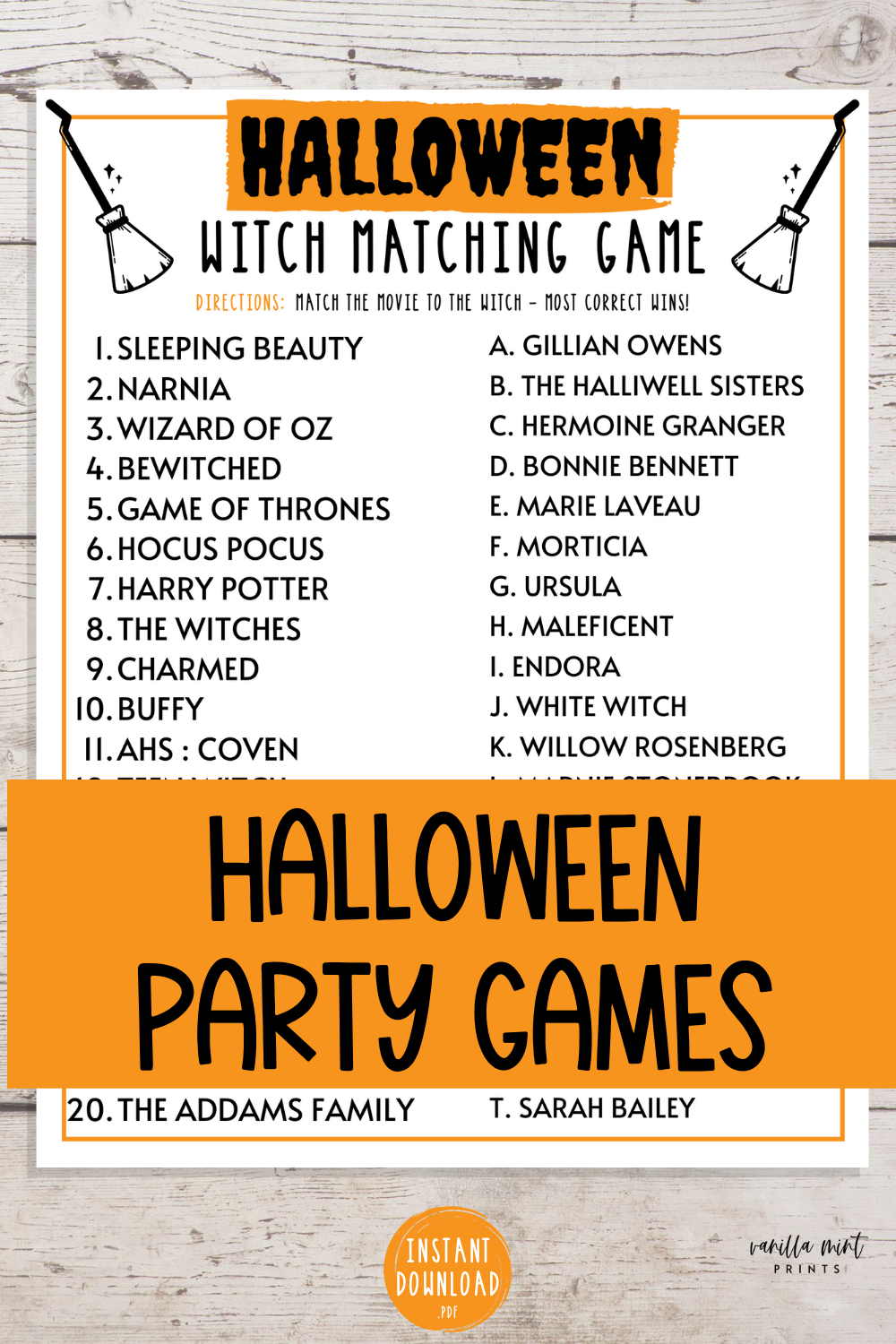 Halloween Witch Matching Game Halloween Printable Games Etsy Fun Halloween Party Games Fun Halloween Games Halloween Party Games