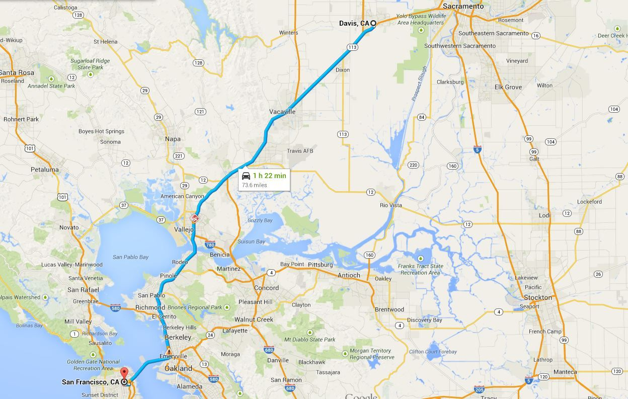 driving distance from davis ca to san francisco ca maps of rh pinterest com
