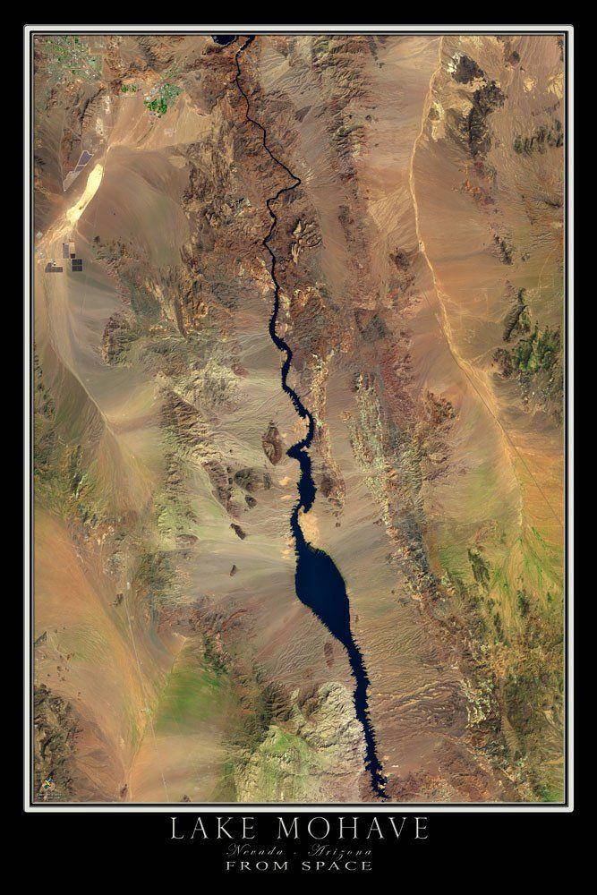 Lake Mohave Nevada Arizona Satellite Poster