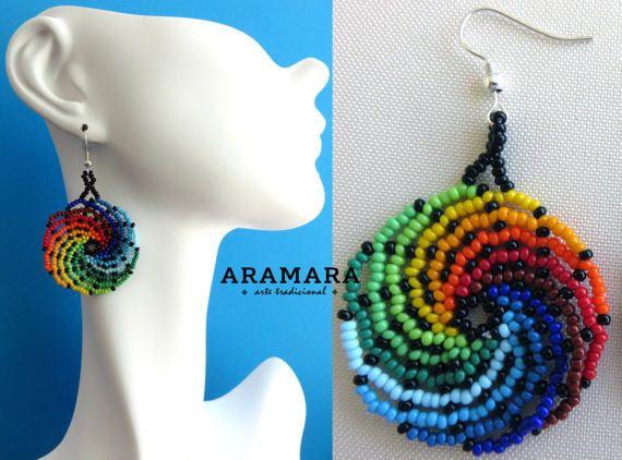 Huichol Beaded Round Rainbow Earrings AR-0082 Huichol by Aramara
