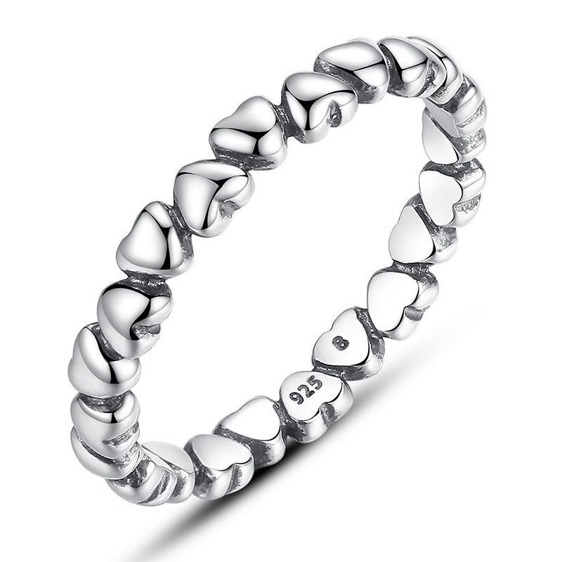 925 100% Solid Sterling Silver Forever Love Heart Finger ...