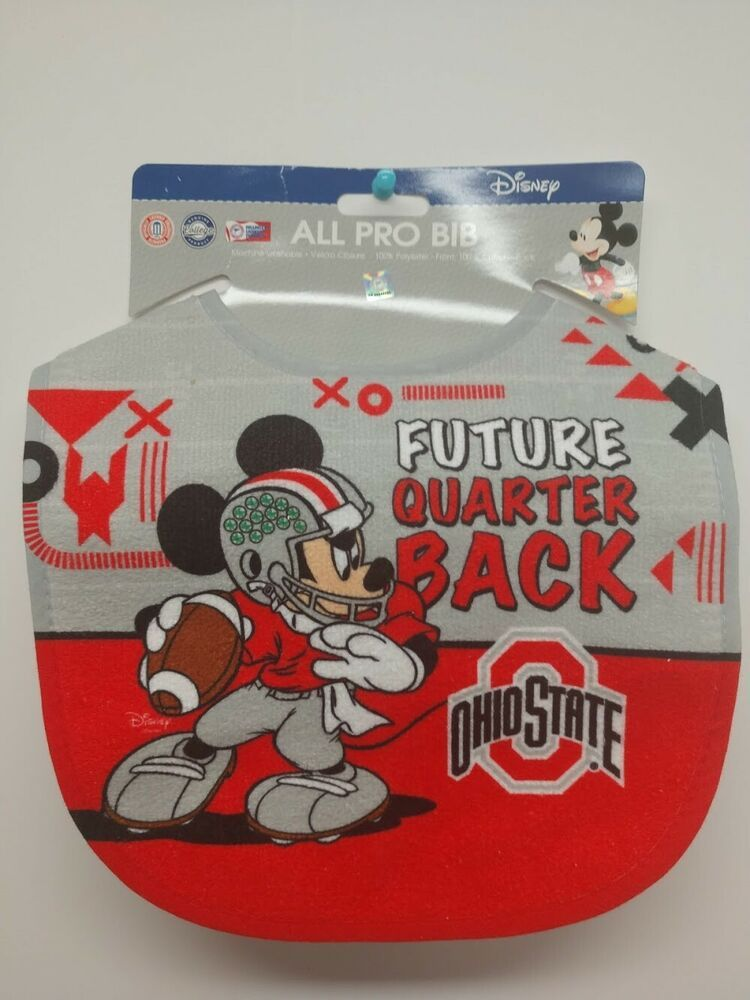 Ohio State Buckeyes Future QB Disney Baby Bib [NEW] NCAA Mickey Mouse Toddler #OhioStateBuckeyes #ohiostatebuckeyes