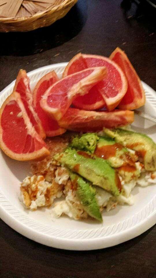 Egg whites,avocado and grapefruit.