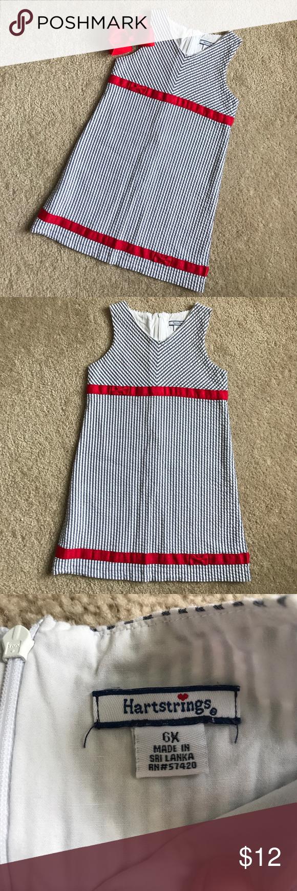 ❤️ Girls Nautical Seersucker Hartstrings Dress 6 Smoke-free, pet-free home. EUC. Bow not included. Hartstrings Dresses Casual