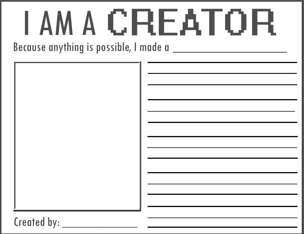 I Am A Creator Worksheet