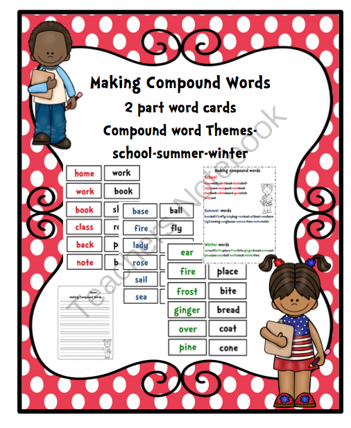 Compound Word Cards from Preschool Printables on TeachersNotebook.com -  (12 pages)  - Compound Word Cards