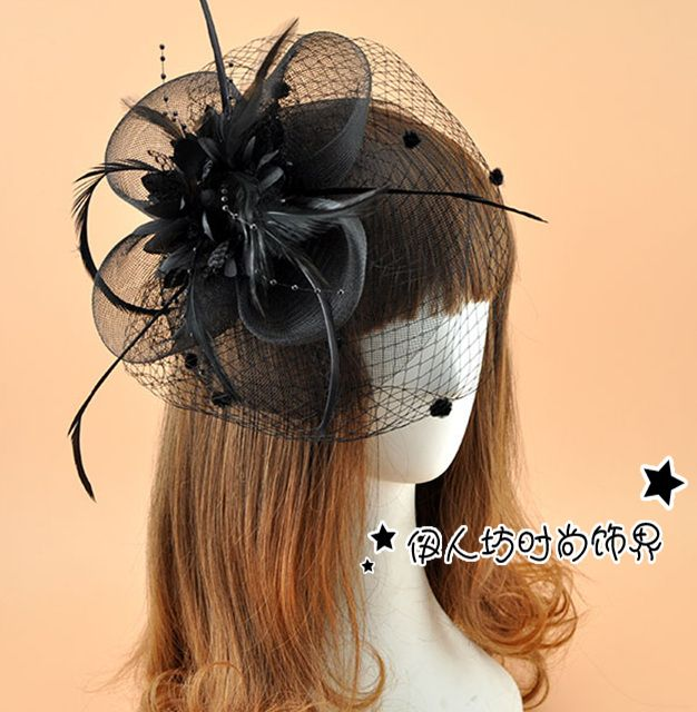 Click To Buy New European Style Dotted Veil Flower Top Hat White Red Hair Clips Black Women Race Horse Tea P Red Hair Clips Wedding Hair Clips Hair Clips