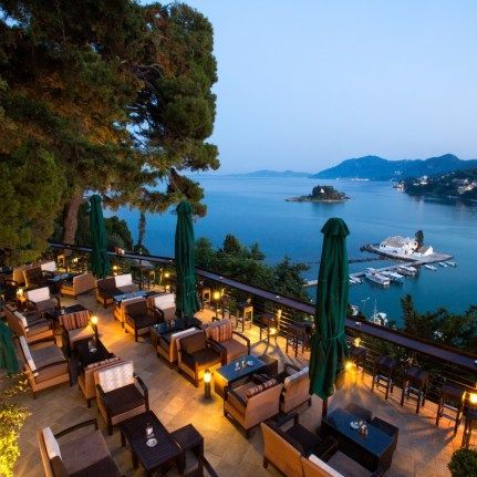Cafe with wonderful view at Canon of Corfu