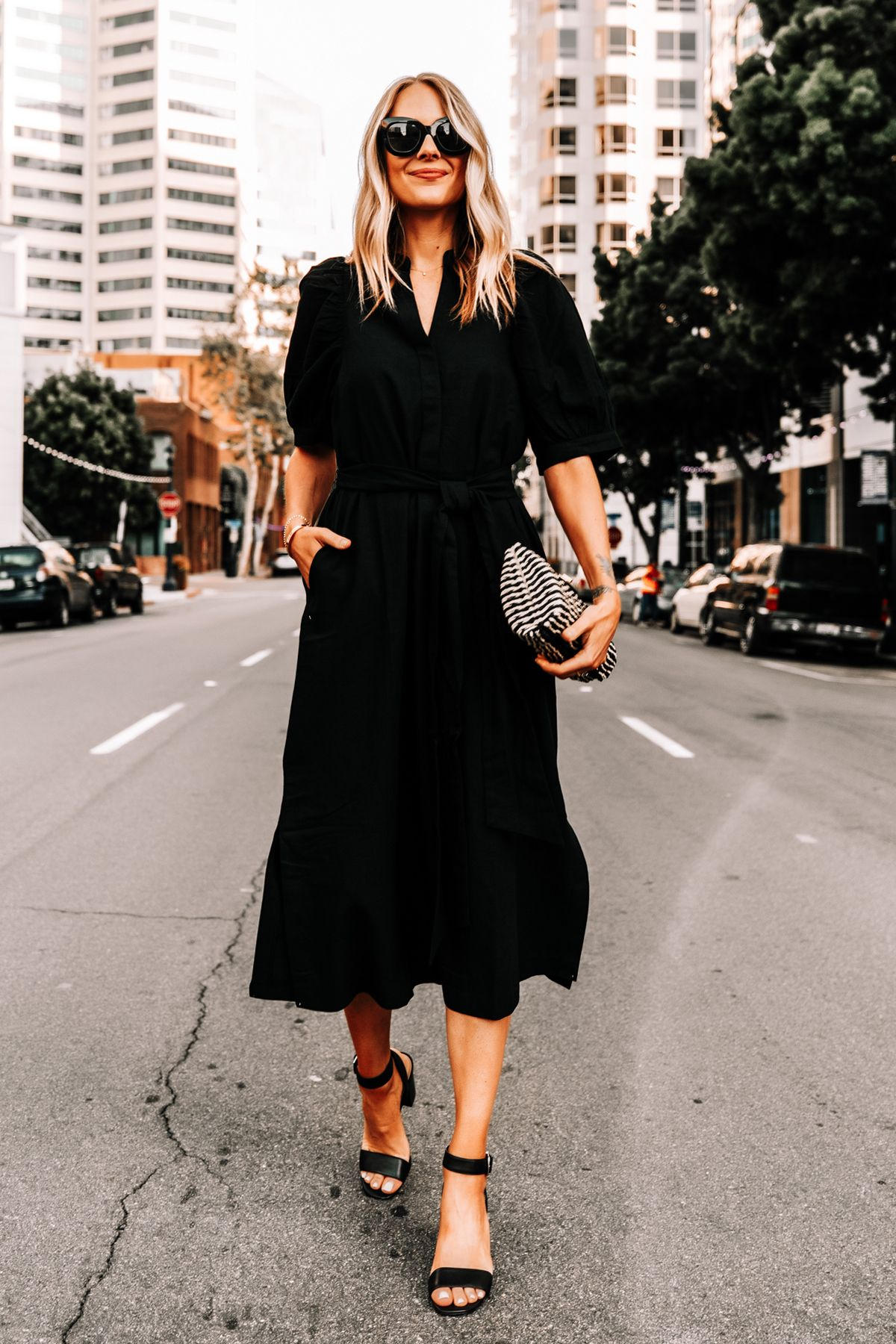 Fashion Jackson Wearing Ann Taylor Black Shirt Dress Black Heeled Sandals Black Tan Woven Clutch 1 Summer Black Dress Fashion Jackson Black Shirt Dress [ 1800 x 1200 Pixel ]