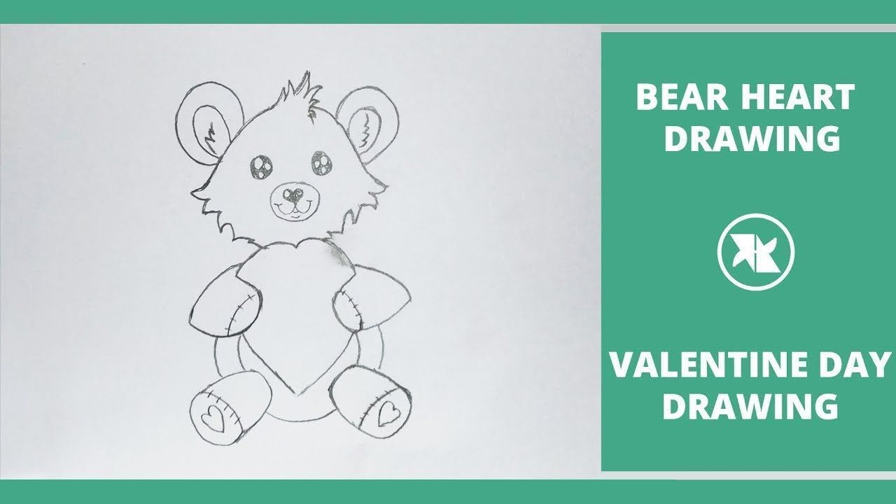 Valentines Day Bear drawing with Pencils for beginners step by step Valentines