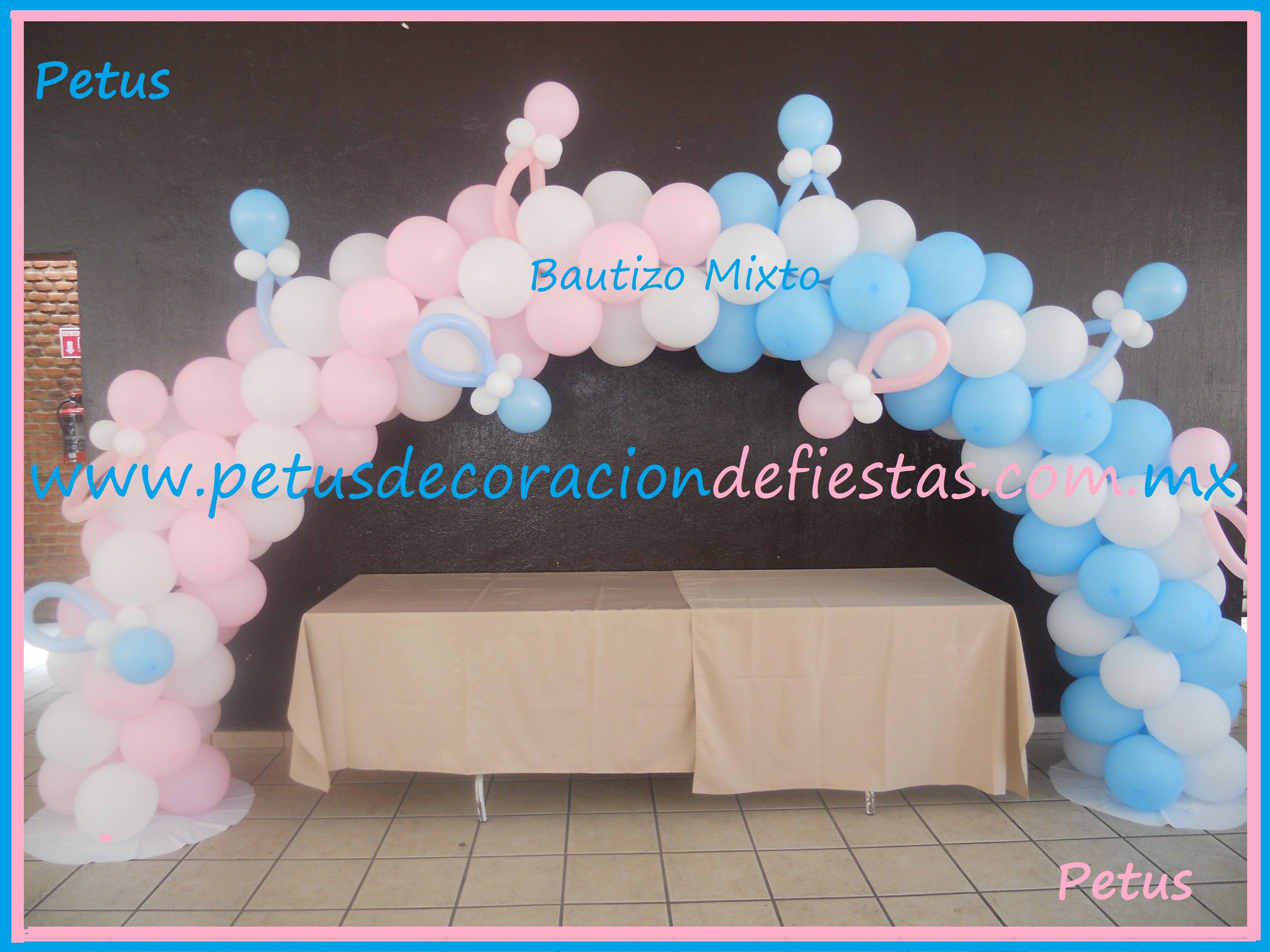 Arco de globos mixto para bautizo de ni a y ni o - Decoracion baby shower nina ...