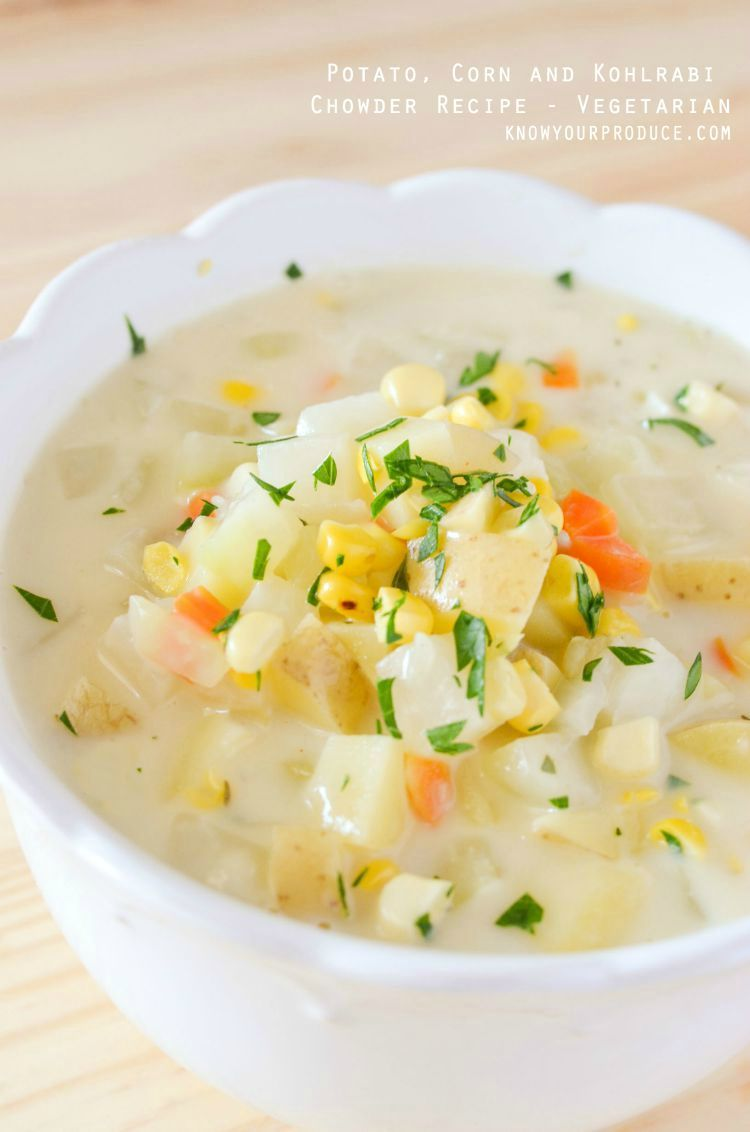 Looking for Kohlrabi Recipes? This one is a keeper! The ultimate comfort food recipe, Potato Corn and Kohlrabi Chowder recipe is perfect for a cool night.
