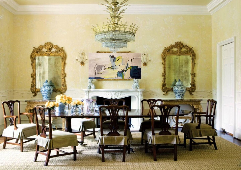 Modern art in traditional dining room. Artwork Jane Robinson | Jane ...