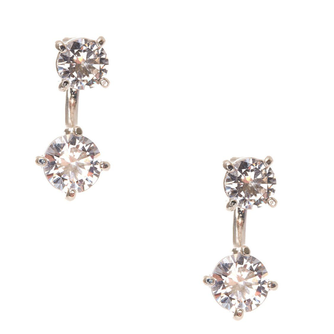 e33f9bfdd Cubic Zirconia Front and Back Drop Earrings | Double up on sparkly cubic  zirconia stud style with this pair of earrings. These Cubic Zirconia Front  and Back ...