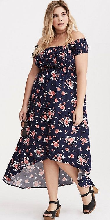 Plus Size Floral Print Off the Shoulder Smocked Hi-Lo Maxi Dress