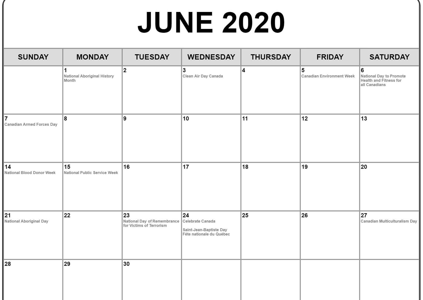 June Calendar 2020 Free Printable Template Pdf Word Excel