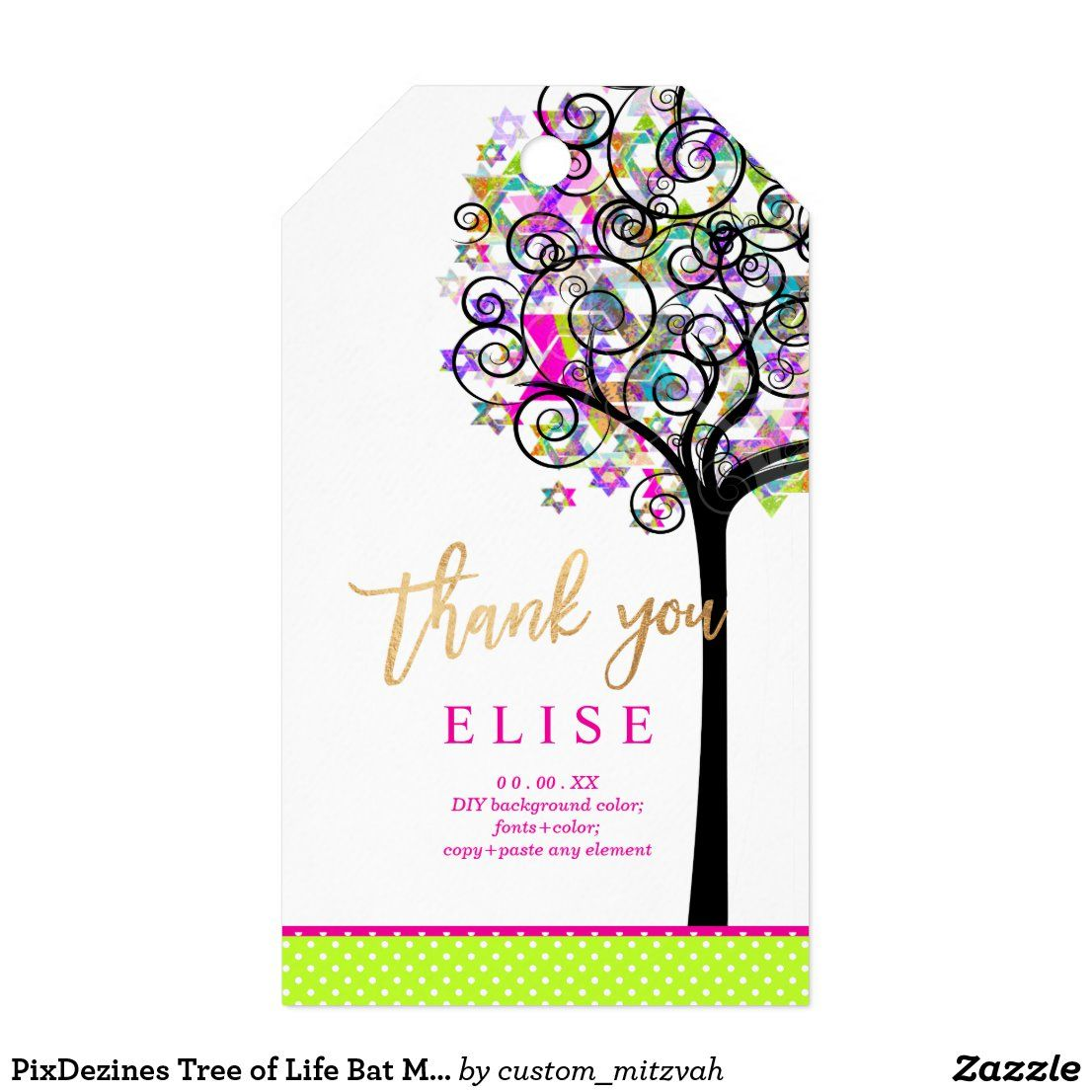 Pixdezines Tree Of Life Bat Mitzvah Neon Pink T Tags