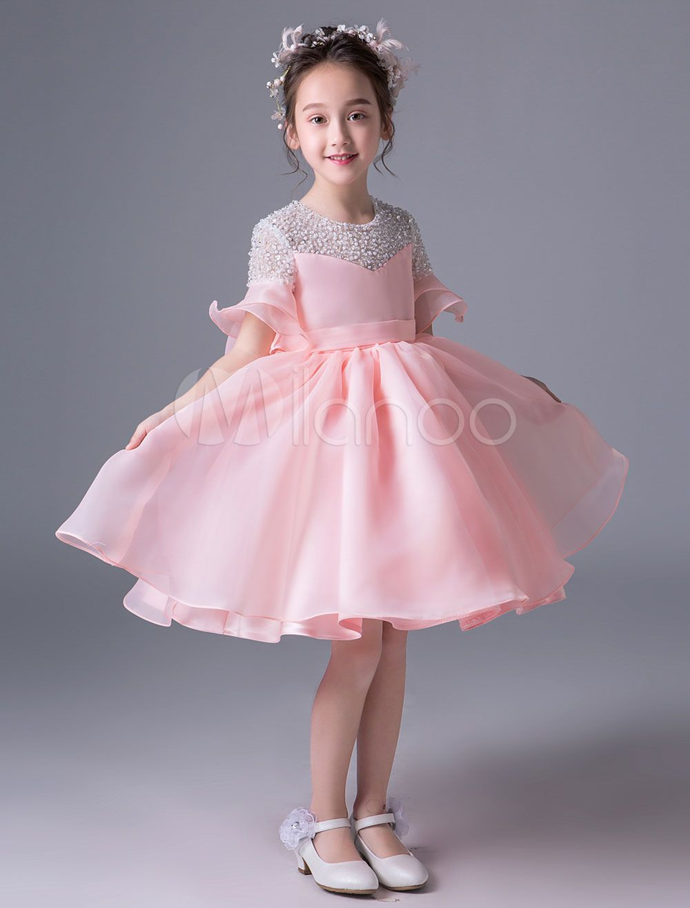 00e5afabb2b8 Flower Girl Dresses Pink Short Tutu Dress Bell Sleeve Bows Knee Length  Beaded Kids Princess Party Dresses