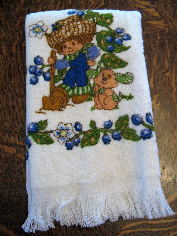 Vintage Strawberry Shortcake Blueberry Muffin Kitchen Towel Wash ...