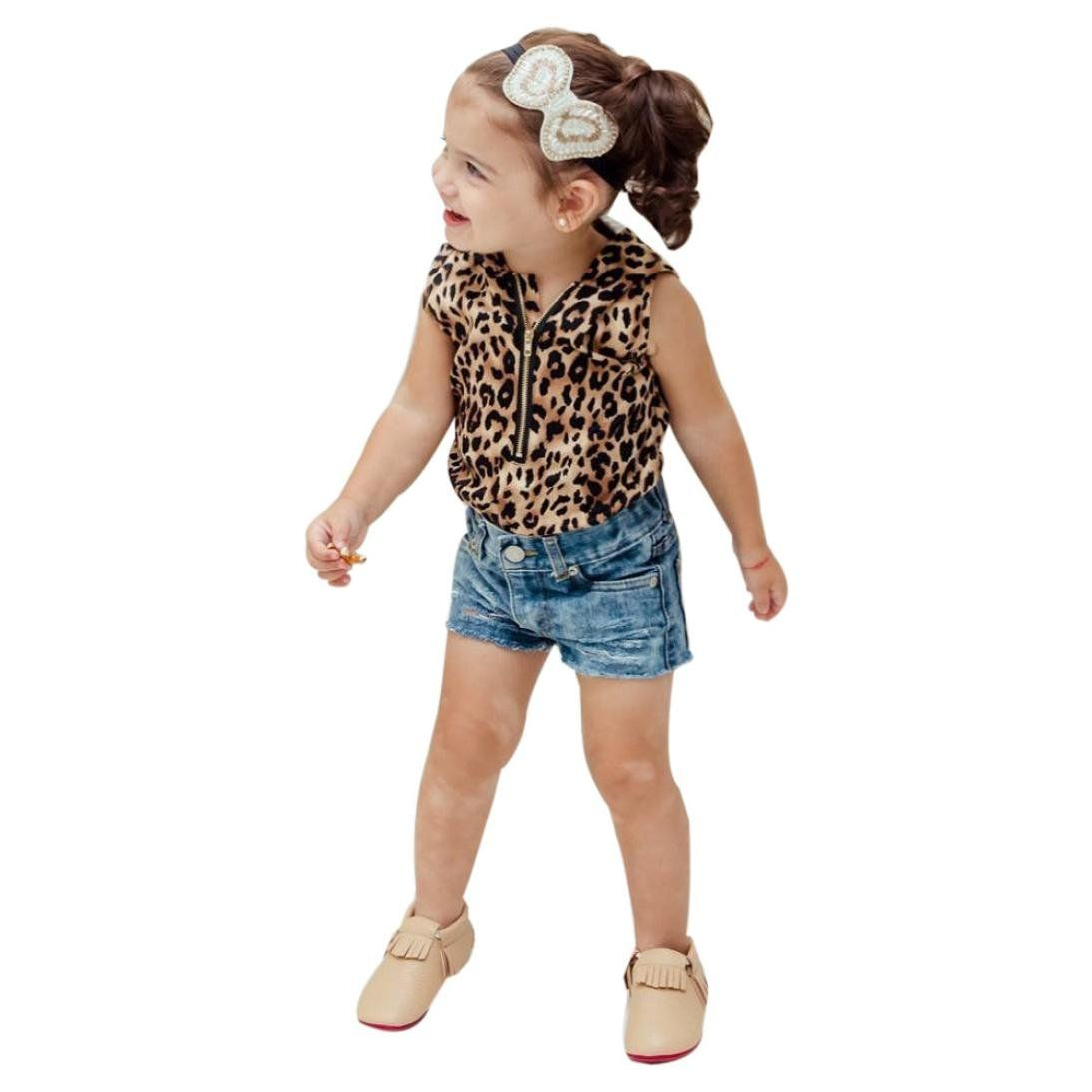 b325c35b8294 Little Girl Hooded Leopard Print T Shirt Top Shorts Pants Clothes Set  (5Years, multicolor