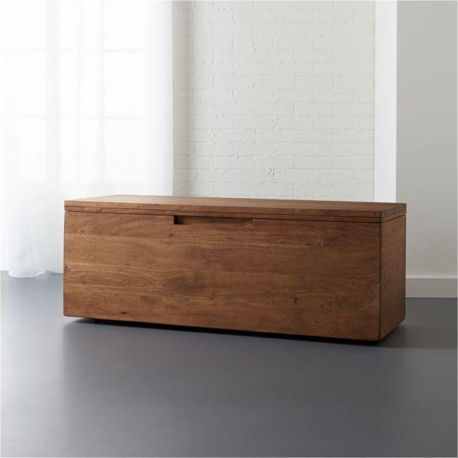 Acacia Wood Storage Bench Reviews Cb2 In 2020 Modern Storage Bench Wood Storage Bench Storage Bench Bedroom