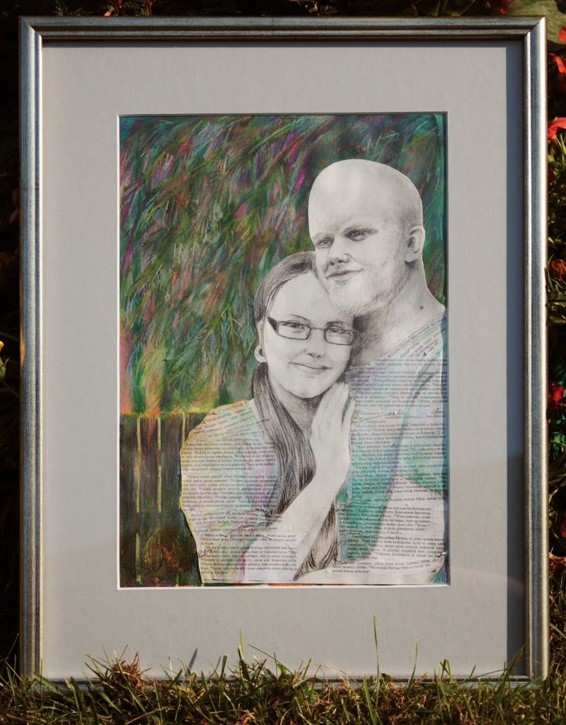 By: Satu Laaninen  Herkkupurkki: kollaasi, pikkukimalainen.blogspot.com  drawing, portrait, loving couple, love