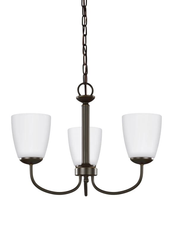 Sea Gull Lighting 3116603 782 Heirloom Bronze Bannock 3 Light 19 5 8 Wide Chandelier With Etched Gl Shade