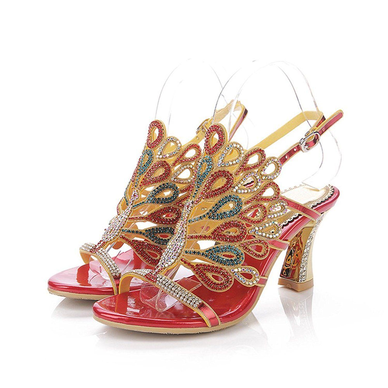 Red dress shoes for wedding  Ashlen Crystal Diamond Wedding Bride Bridesmaid Chunky Heels Sandals