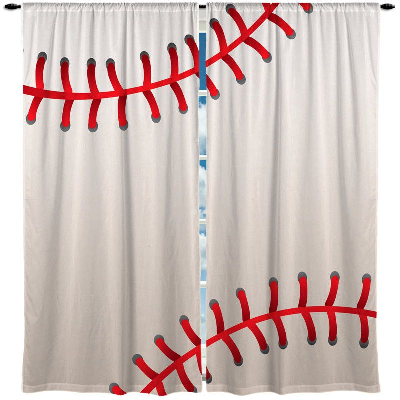 Baseball Stitched Design Theme Window Curtain