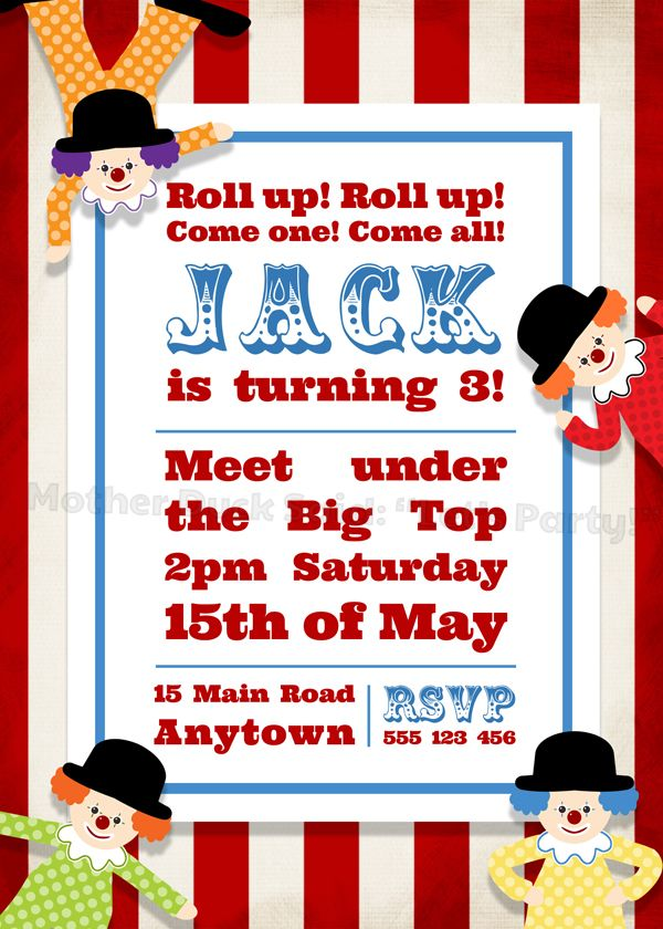 circus clown party invitations and printables party ideas