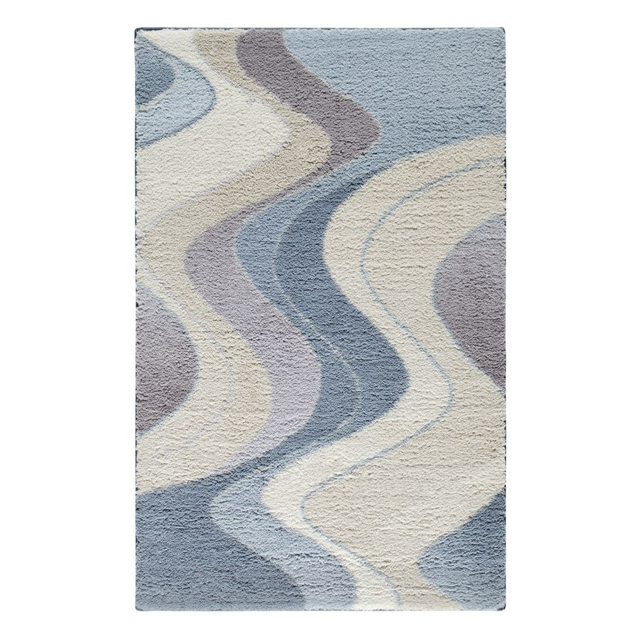 shop stainmaster blue and tan rectangular indoor tufted throw rug