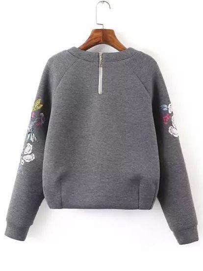 Shop Grey Round Neck Bird Embroidered Crop Sweatshirt Online