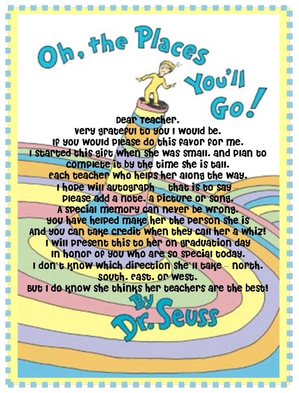 Teachers Letter For Oh The Places You Ll Go