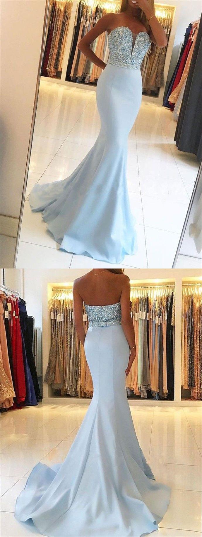 Mermaid sweetheart sweep train blue prom dress with beading prom