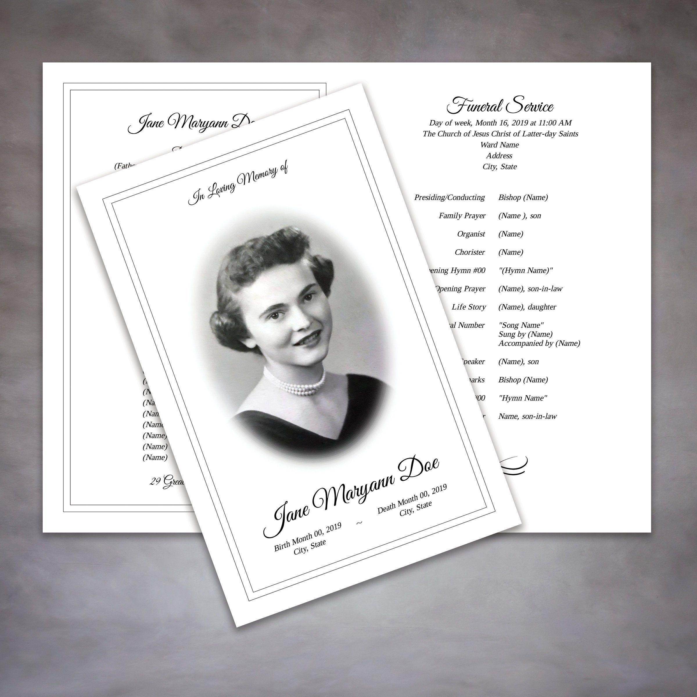 Elegant Lds Funeral Program Template