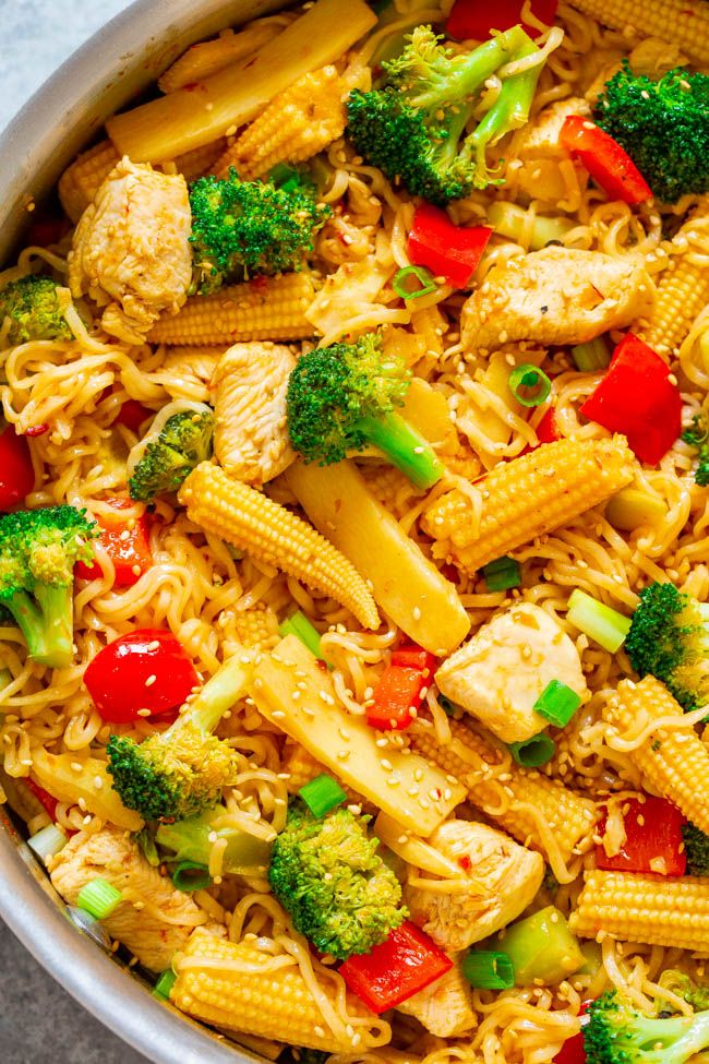 15-Minute Chicken and Vegetable Stir-Fry with Ramen - Averie Cooks