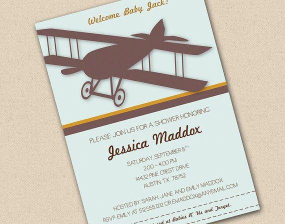 airplane baby shower invitations | vintage airplane baby shower, Baby shower invitations