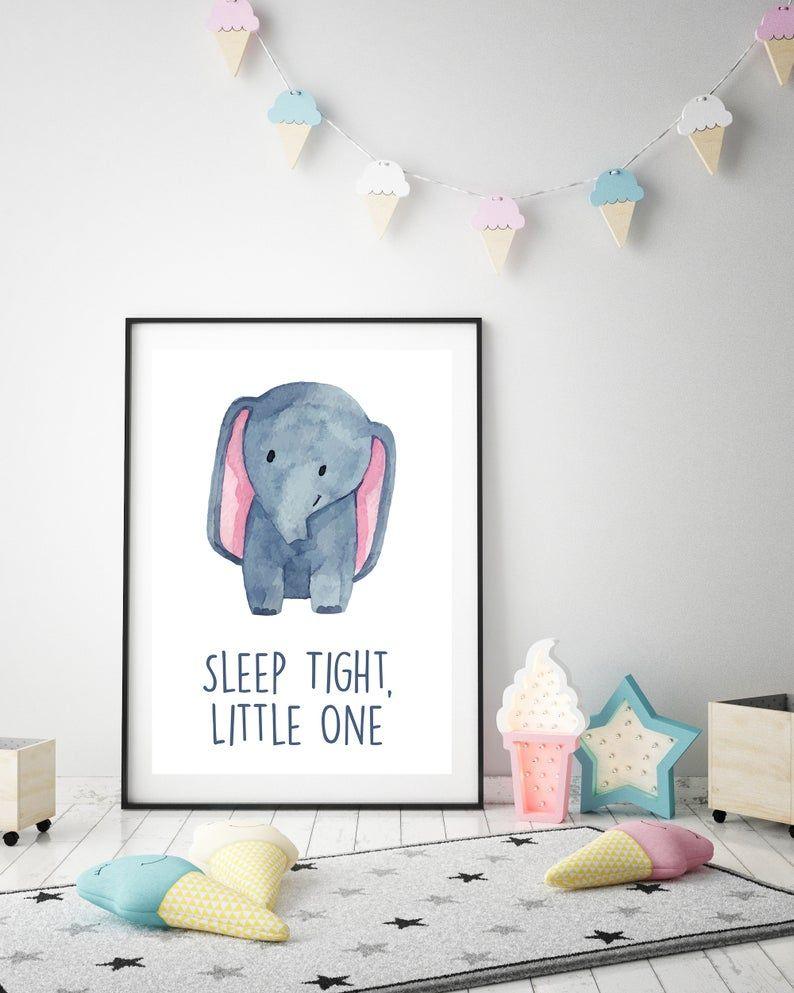 Set Of 3 Animal Nursery Wall Art Kids Room Decor Bear Elephant