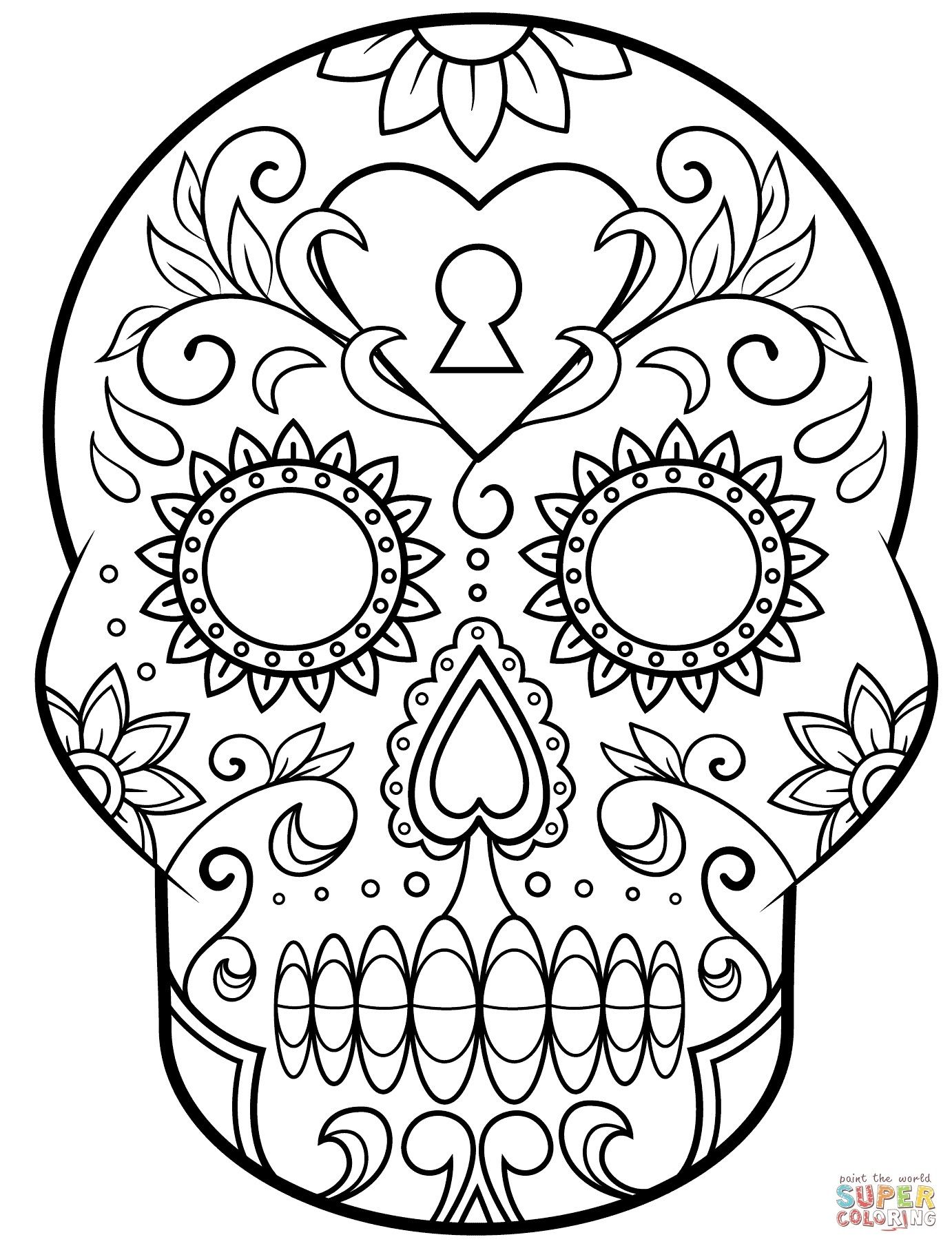 Best Of Skull Coloring Pages To Print Wallpapers Of Simple Sugar Skull Coloring Pages Collecti Skull Coloring Pages Halloween Coloring Pages Halloween Coloring