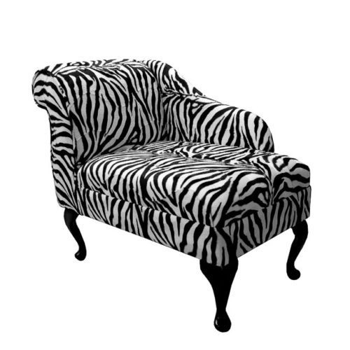 Compact Chaise Longue Chair in a Zebra Animal Print Fabric REDUCED ...
