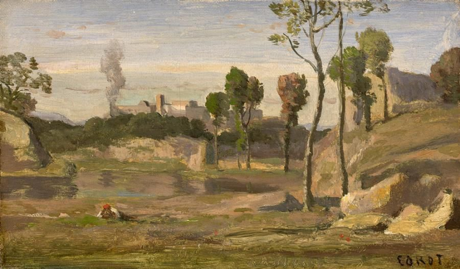 Jean-Baptiste Camille Corot (1796-1875), Souvenir des environs de Montpellier, huile sur toile, 17 x 30 cm.  Adjugé : 137 496 € Mercredi 22 février, salle 5-6 - Drouot-Richelieu. Beaussant Lefèvre OVV.  MM. Auguier, Bacot et de Lencquesaing, de Clouet, Vandermeersch.