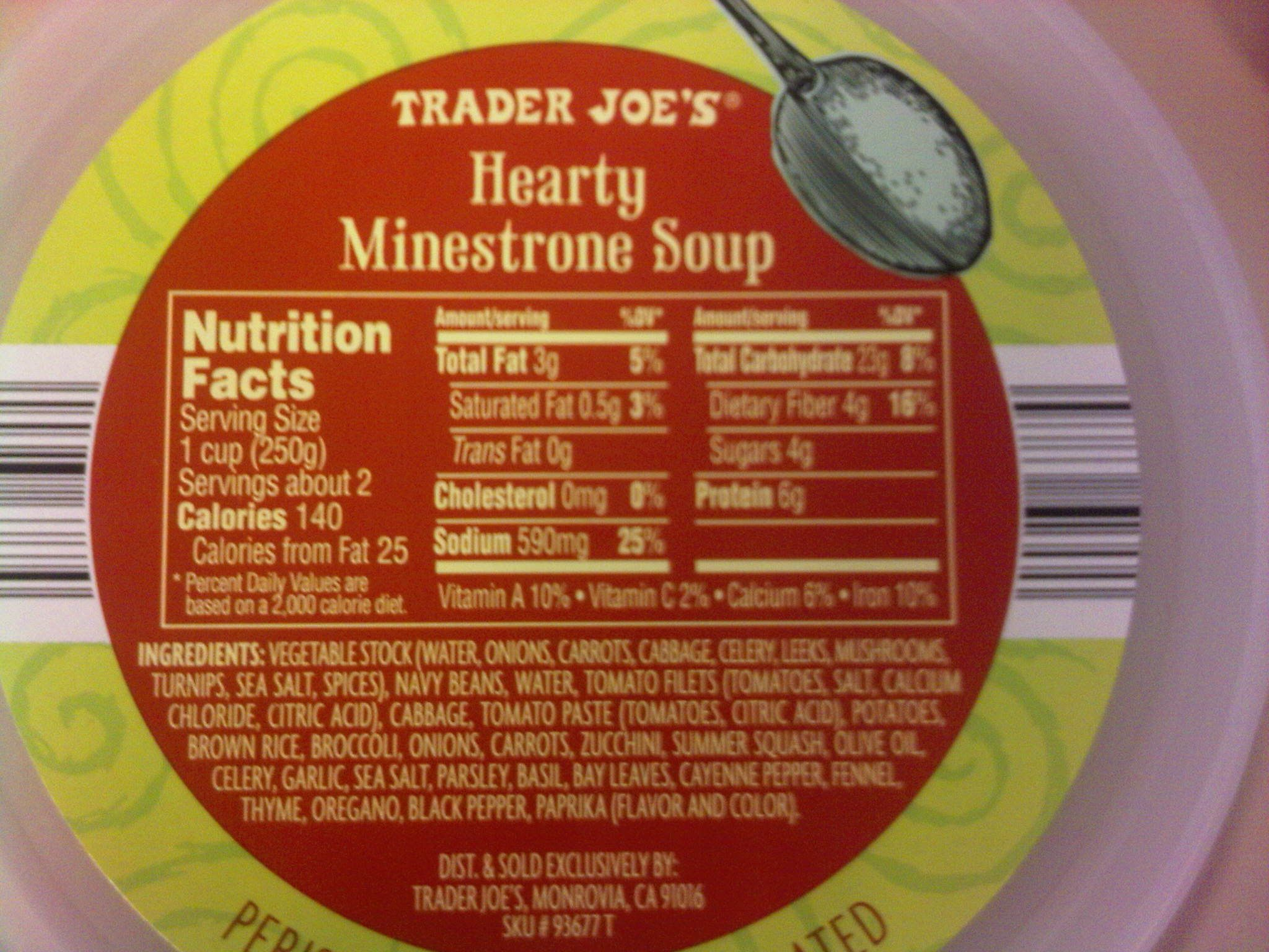 Nutrition Facts On Trader Joes Hearty Minn Soup Baked Chicken Recipes Healthy Food Facts Food Network Recipes